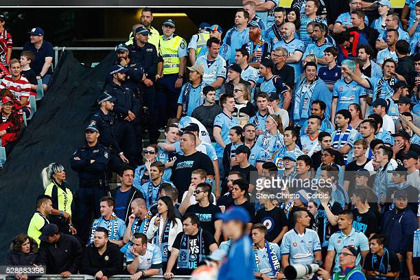Police guard Sydney FC's fans during the round 15 ALeague match between the Western Sydney Wanderers and Sydney FC at Parramatta Stadium Sydney...