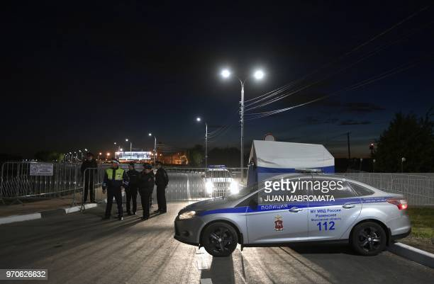 Police guard the access to Argentina's base camp after the squad arrives in Bronnitsy near Moscow Russia on June 10 2018 ahead of the FIFA World Cup...