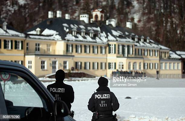 Police guard the conference area during the annual conference of the CSU at WildbadKreuth on January 6 2016 in Kreuth Germany Horst Seehofer Bavarian...