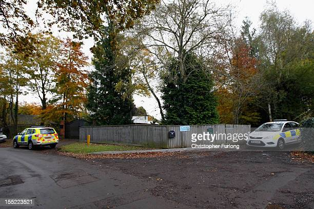 Police guard the entrance to the home of comedian Freddie Starr on November 2 2012 in Studley England Comedian and television personality Freddie...
