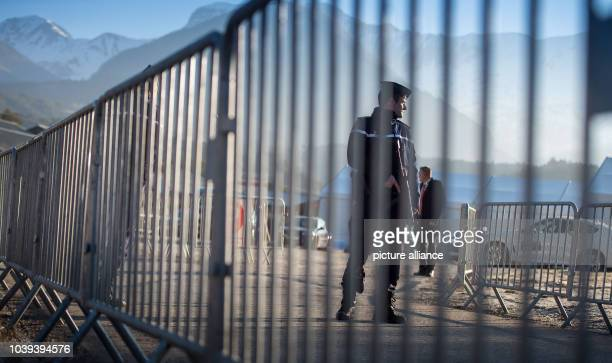 Police guard the memorial for the victims of the Germanwings flight 4U9525 plane crash in Le Vernet France 24 March 2016 150 people died in the crash...