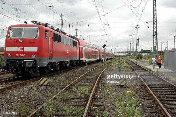 A police handout shows the regional train on which a trolley that contained a bomb was found on August 1 2006 in Dortmund Germany At the same time an...