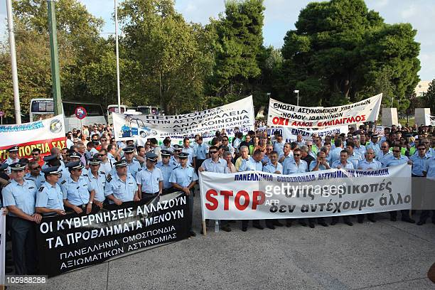 Police harbour police and fire fighting protest at wage cuts in the White Tower of Thessaloniki on September 10 one day before the ceremony of...