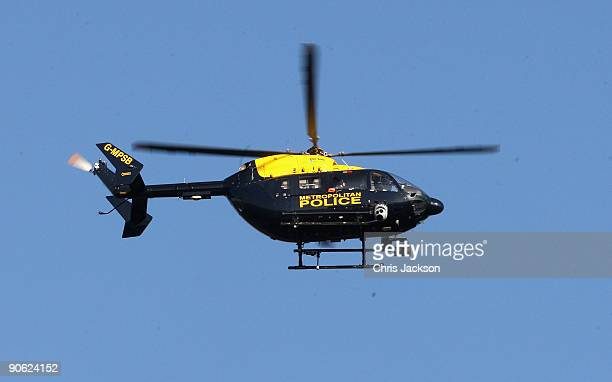 A police helicopter circles outside Lady Annabel Goldsmith's house Ormeley Lodge on September 12 2009 in Richmond upon Thames England Sophie...