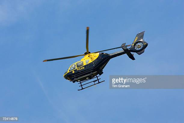 Police helicopter in flight over Gloucestershire United Kingdom