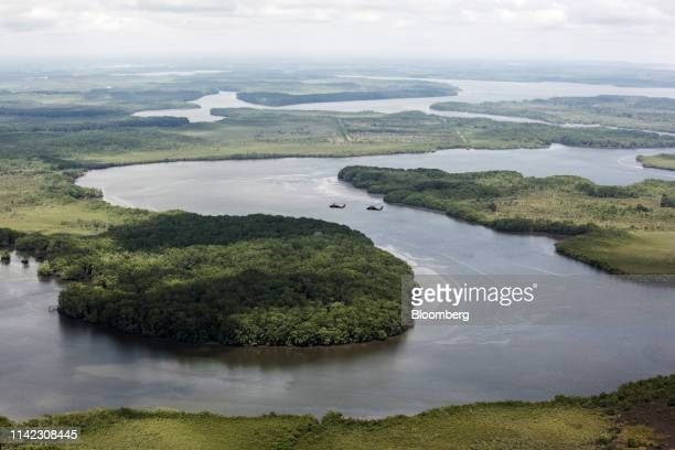 Police helicopters fly during an antinarcotics operation in Tumaco Narino department Colombia on Tuesday May 8 2019 Production of coca the raw...