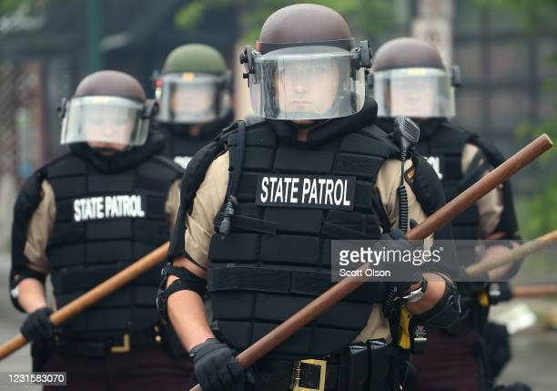 Police hold a line on the fourth day of protests on May 29 2020 in Minneapolis Minnesota The National Guard has been activated as protests continue...