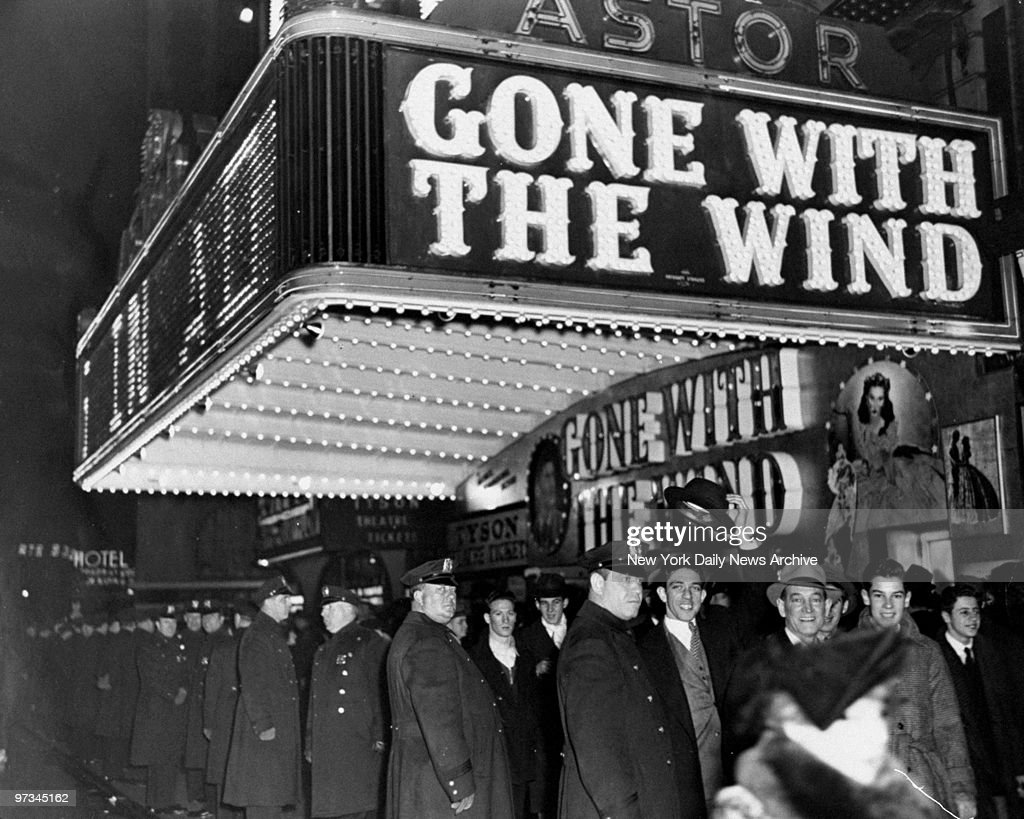 Police hold crowds back at Astor Theatre on opening night of the film 'Gone With The Wind.'