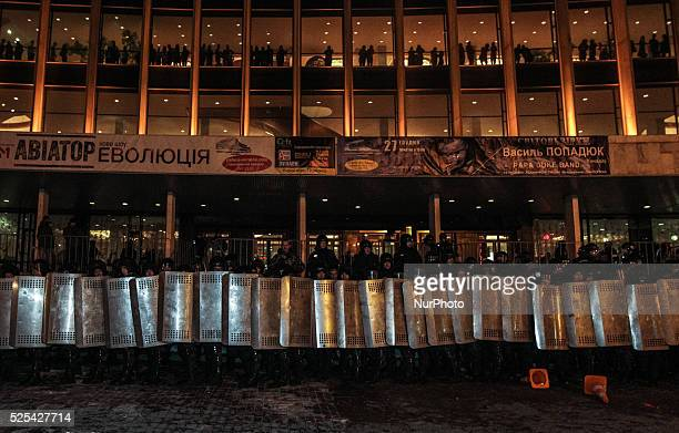 Police holding the cordon around concert hall Unknown people tried to disrupt Ani Lorak concert in Kiev twice in last two days on November 27 2014