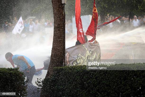 Police in Adana interfere the group gathering at Ataturk Park on May 31 2014 to mark the 1st anniversary of last year's Gezi Park protests which...