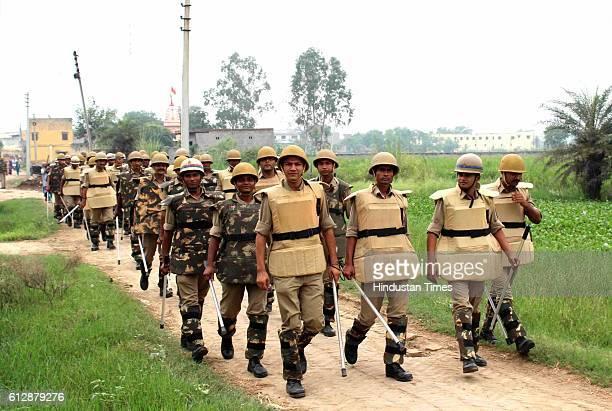 Police in Bisada village at Dadri after accused Ravi dies in Delhi hospital on October 5 2016 in Greater Noida India Ravi Sisodia who hailed from...