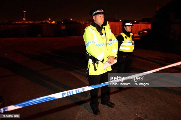 Police in Broadfield Lane Boston Lincolnshire where five men were killed tonight in an explosion at an industrial unit