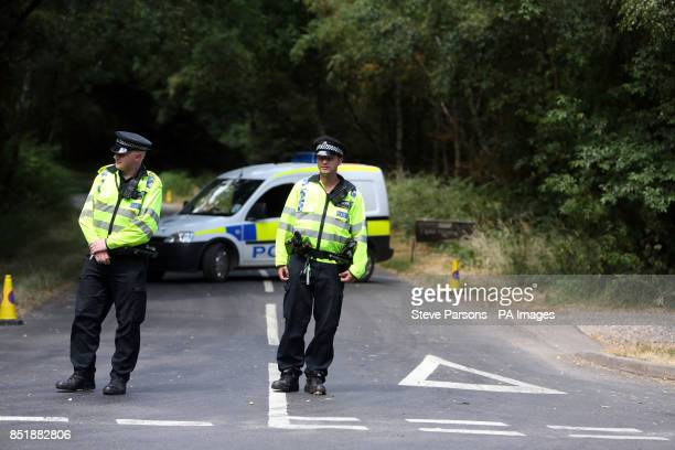 Police in Bucklebury Berkshire after the Duke and Duchess of Cambridge arrived with their newborn son