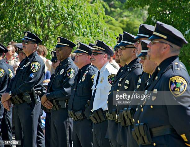 Police in formation at Memorial Day ceremony,Connecticut, USA
