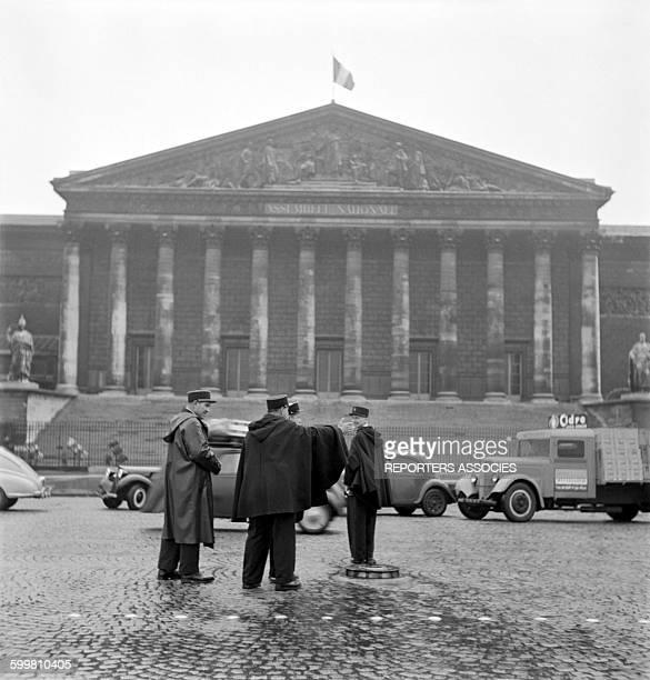 Police in Front of the French National Assembly in Paris France circa 1950