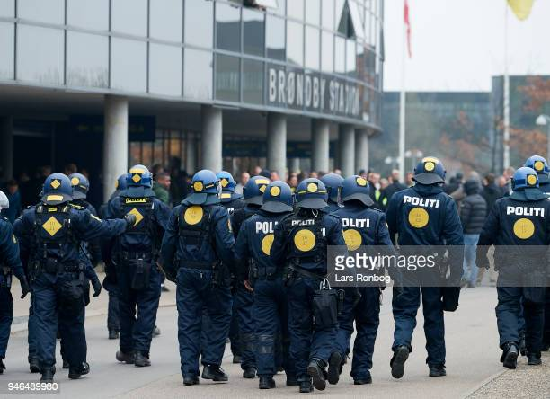 Police in front of the stadium prior to the Danish Alka Superliga match between Brondby IF and FC Copenhagen at Brondby Stadion on April 15 2018 in...