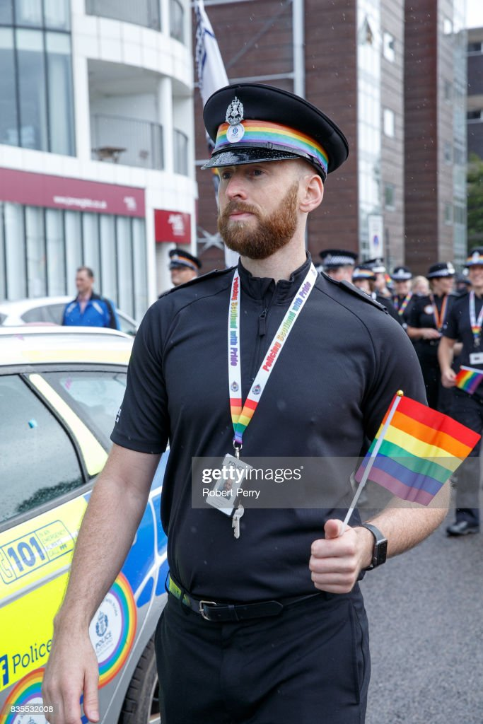 Police in Pride colours lead the march at the Glasgow Pride march on August 19, 2017 in Glasgow, Scotland. The largest festival of LGBTI celebration in Scotland has been held every year in Glasgow since 1996.