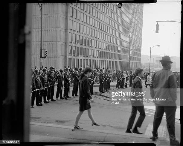 Police in riot gear lined up Downtown near Washington Plaza Pittsburgh Pennsylvania 1968