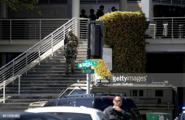 Police in tactical gear walk outside of the YouTube headquarters on April 3 2018 in San Bruno California A woman opened fire at the facility wounding...