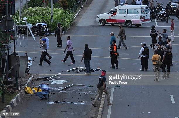 Police in the process of identifying the location of a terrorist bomb explosion at the traffic police station in Sarina Indonesian police have...
