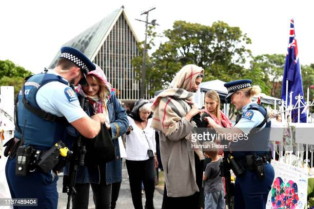 Police inspect bags of the guests arriving at the Ponsonby Masjid Mosque during an open service to all religions on March 22 2019 in Auckland New...