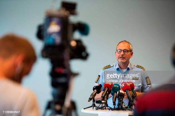 Police Inspector Tommy Broeske talks about the latest developments in the disappearance case from Lørenskog Norway during a press conference on...