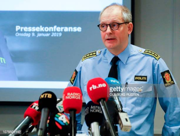 Police inspector Tommy Broske attends a press conference in Lillestrom some 20 km north of Oslo January 9 2019 on the kidnapping of wife of a...