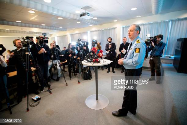Police inspector Tommy Broske gives a press conference on the disappearance of AnneElisabeth Falkevik Hagen the wife of Norwegian billionaire Tom...