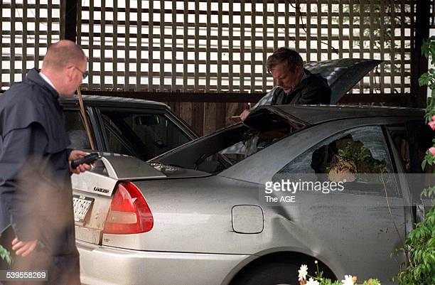 Police investigate a car bombing in Geelong related to the bombing at Bandidos gang headquarters 9 August 1999 THE AGE Picture by WAYNE TAYLOR