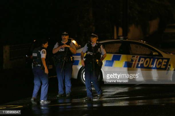 Police investigate a property at Somerville Street on March 15 2019 in Dunedin New Zealand Residents have been evacuated off the street as police...