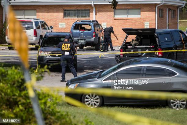 Police investigate a suspicious car in the parking lot of the Burnette Chapel Church of Christ on September 24 2017 in Antioch Tennessee One person...
