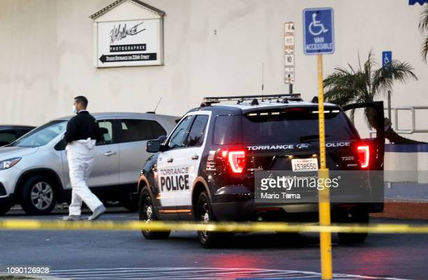 Police investigate the scene of a shooting that left three men dead and four injured at Gable House Bowl on January 5 2019 in Torrance California...