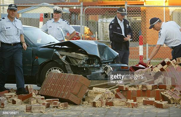 Police investigate the scene where a car crashed through a brick wall and injured several children at Dandenong West Primary this afternoon on 19th...