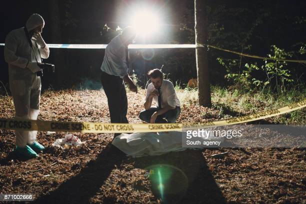 Police investigation at night