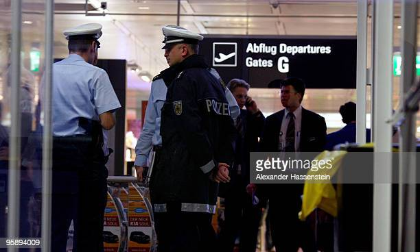 Police is busy after a bomb alter on the Munich airport on January 20 2010 in Munich Germany A man broke through the security check and disappeared...