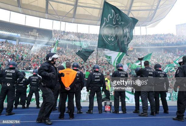 Police is pictured during the Bundesliga match between Hertha BSC and SV Werder Bremen at Olympiastadion on September 10 2017 in Berlin Germany