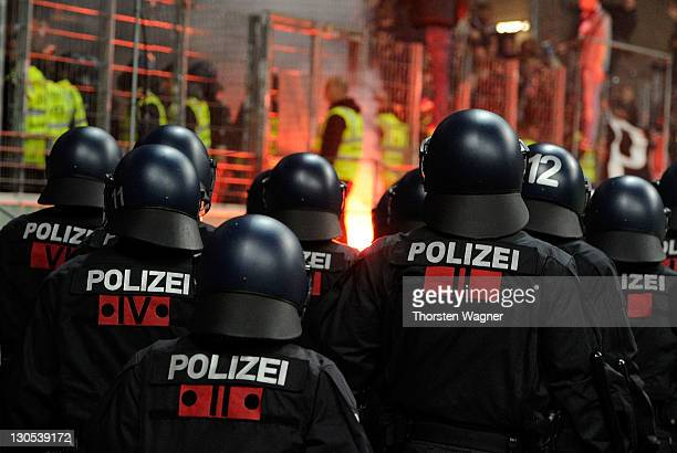 Police is pictured during the DFB Cup second round match between Eintracht Frankfurt and 1FC Kaiserslautern at CommerzbankArena on October 26 2011 in...