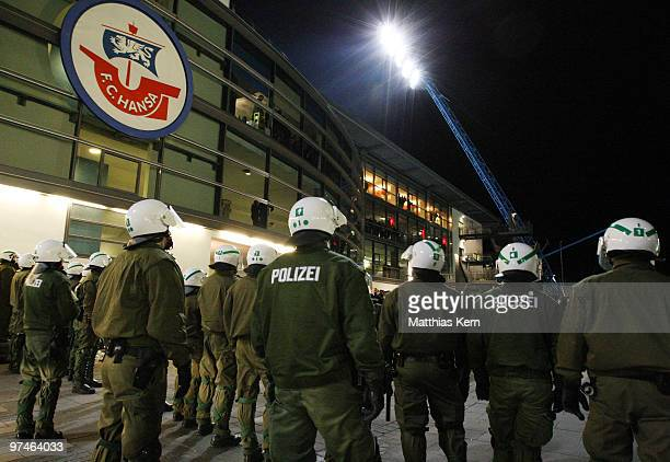 Police is seen after the Second Bundesliga match between FC Hansa Rostock and RotWeiss Ahlen at the DKB Arena on March 5 2010 in Rostock Germany