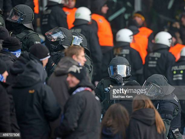 Police is seen during the third league match between FC Hansa Rostock and SG Dynamo Dresden at DKBArena on November 29 2014 in Rostock Germany