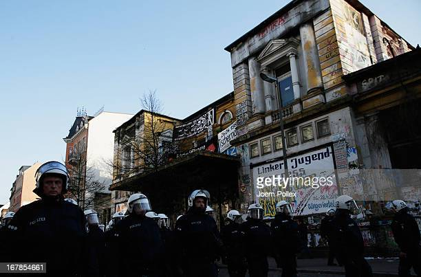 Police is seen in front of the cultural centre 'Rote Flora' on May Day on May 1 2013 in Hamburg Germany May Day the international day of labour is a...