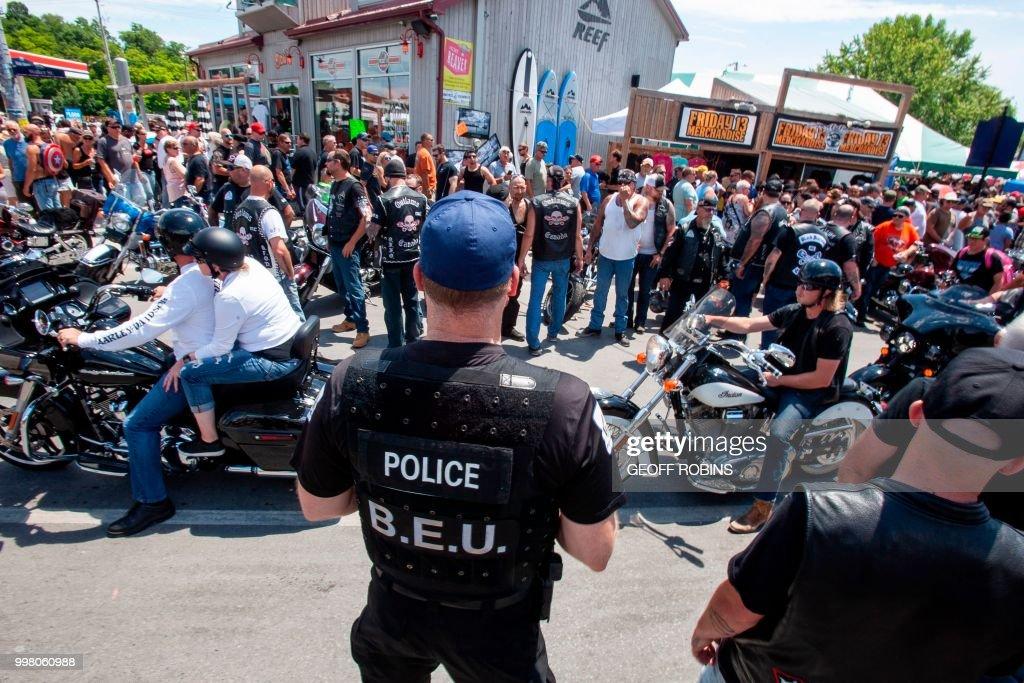 Police keep an eye on members Outlaws Motorcycle Club as