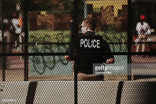 Police keep guard in a downtown Cleveland filled with security barriers and closed roads on July 17 2016 in Cleveland Ohio An estimated 50000 people...
