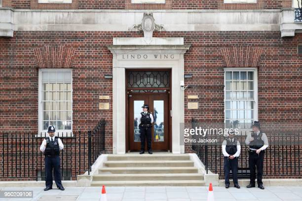 Police keep guard outside the Lindo Wing ahead of the birth of The Duke Duchess of Cambridge's third child on April 23 2018 in London England