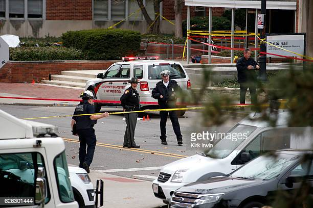 Police keep the roads closed around Watts Hall following an attack on the campus of the Ohio State University on November 28 2016 in Columbus Ohio At...