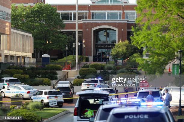 Police keeps the campus on lockdown after a shooting at the University of North Carolina Charlotte in University City Charlotte on April 30 2019 Six...
