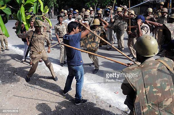 Police Lathi charge on ABVP students during Chakka jaam protest at Allahabad Kanpur Highway against Union Public Service Commission Chairman D P...