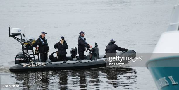 A police launch arrives alongside fishing boats as they gather on the River Tyne in North Shields as fishermen take part in a nationwide protest...