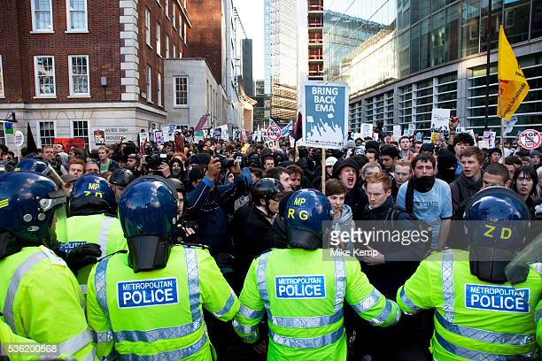 Police lead student march through central London to protest against rises in tuition fees and changes to higher education The police were out in...