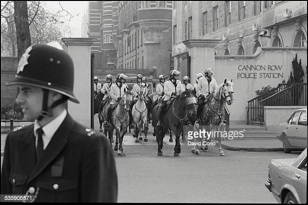 Police leaving Cannon Row Police Station to take up positions for the Poll Tax March in London UK 31st March 1990