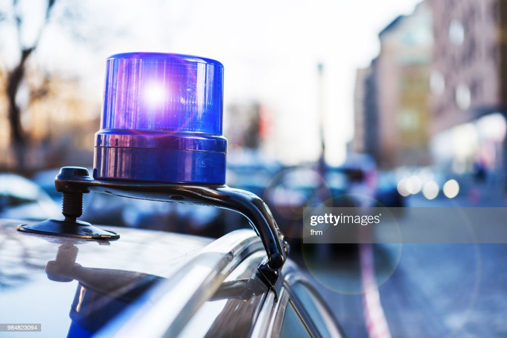 Police light on a civil car of the german police - (Berlin, Germany) : Stock Photo